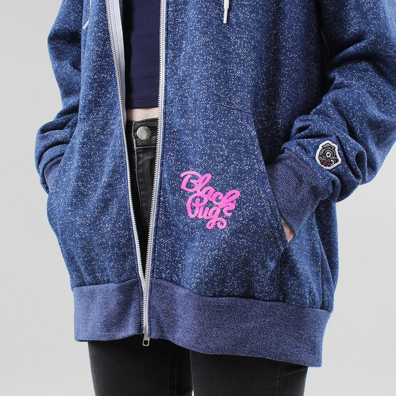 Black Pug Girls Light Weight Hoodie - Blue - Born Store