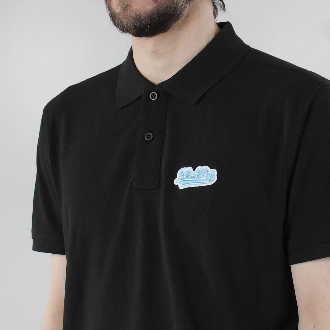 Black Pug Baseball Patch Polo - Black/Blue