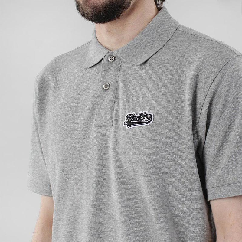 Black Pug Baseball Patch Polo - Heather Grey/Black - Born Store