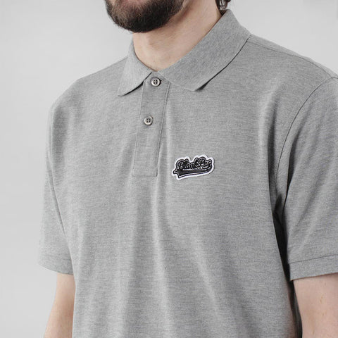 Black Pug Baseball Patch Polo - Heather Grey/Black