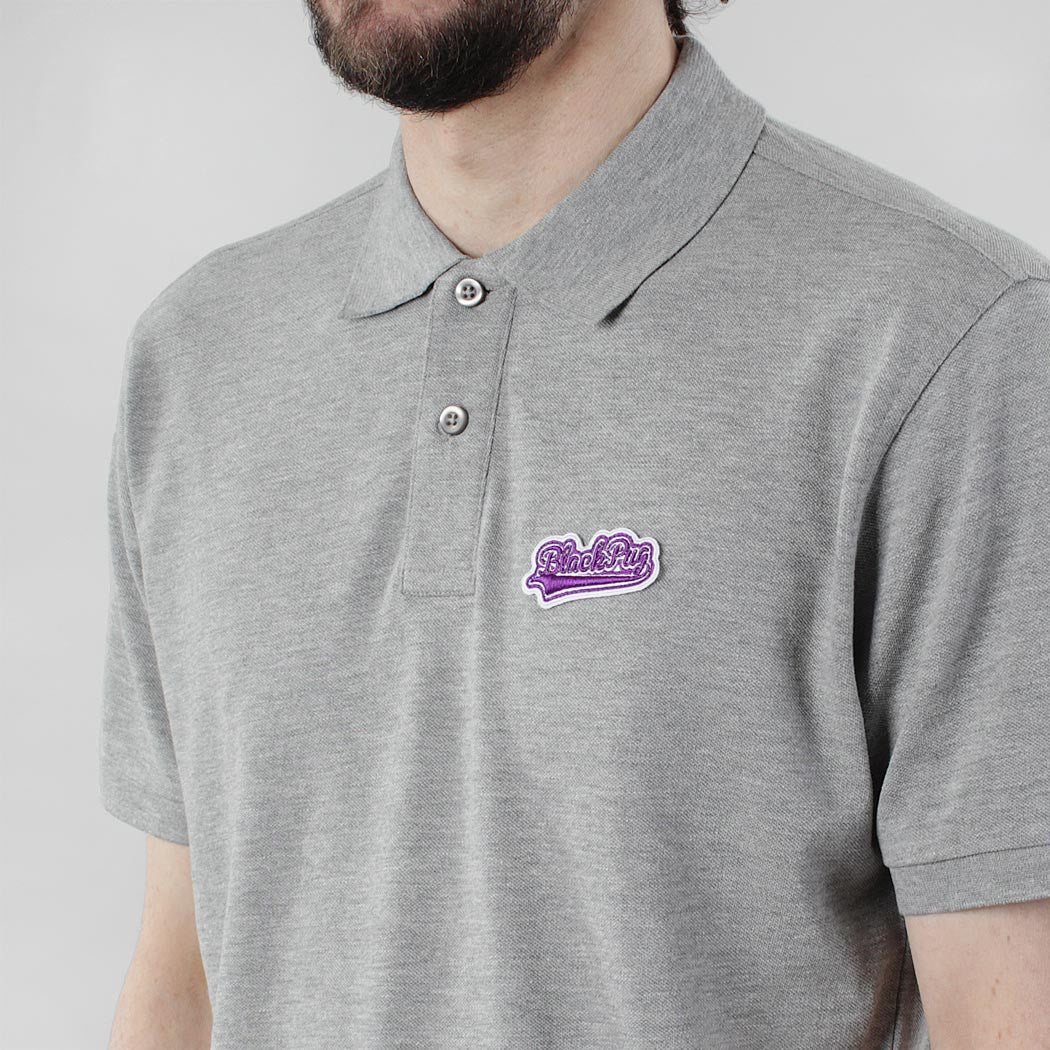 Black Pug Baseball Patch Polo - Heather Grey/Purple