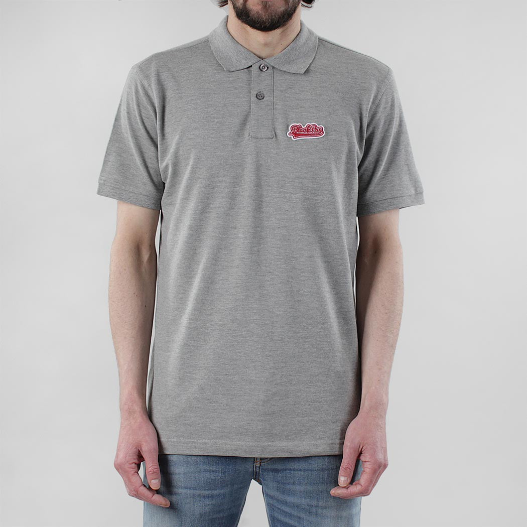 Black Pug Baseball Patch Polo - Heather Grey/Red
