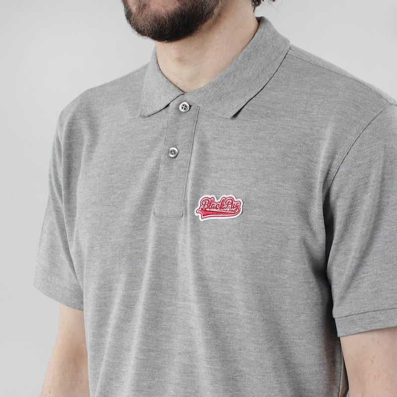 Black Pug Baseball Patch Polo - Heather Grey/Red - Born Store