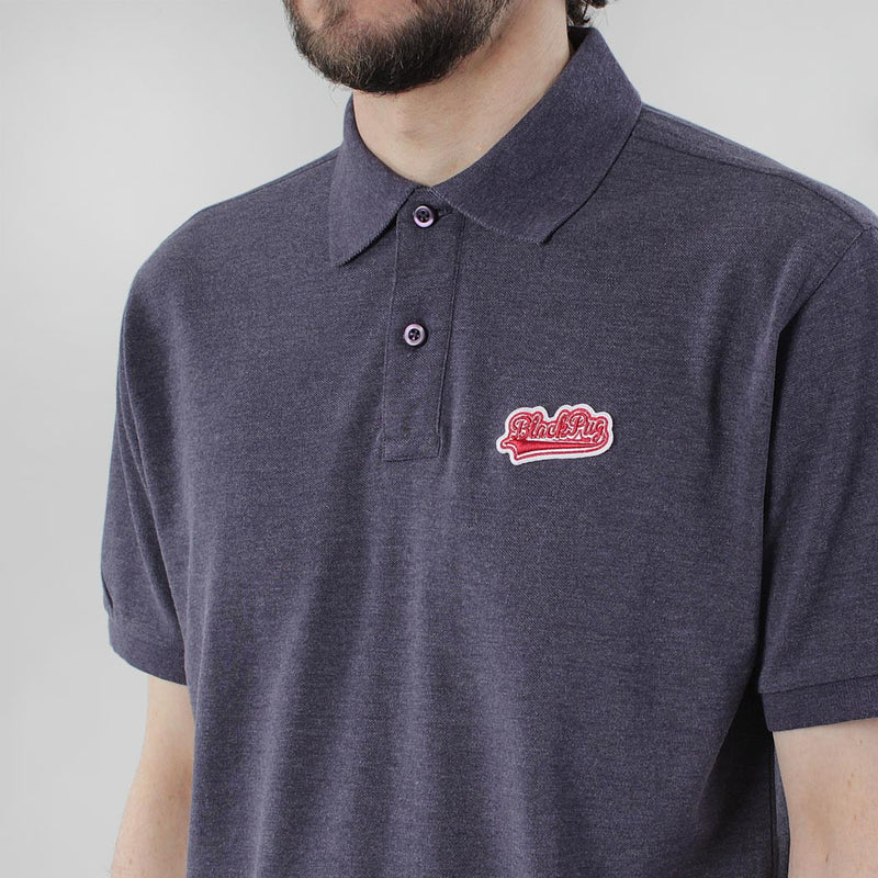 Black Pug Baseball Patch Polo - Heather Navy/Red - Born Store