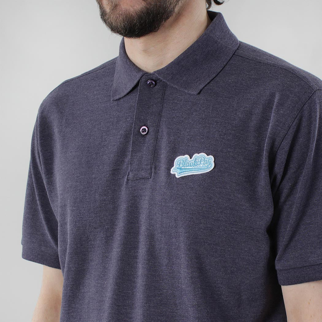 Black Pug Baseball Patch Polo - Heather Navy/Blue