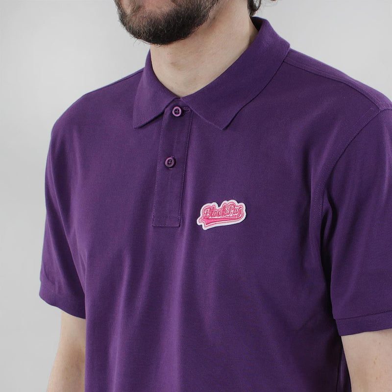 Black Pug Baseball Patch Polo - Purple/Pink - Born Store