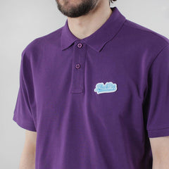 Black Pug Baseball Patch Polo - Purple/Blue