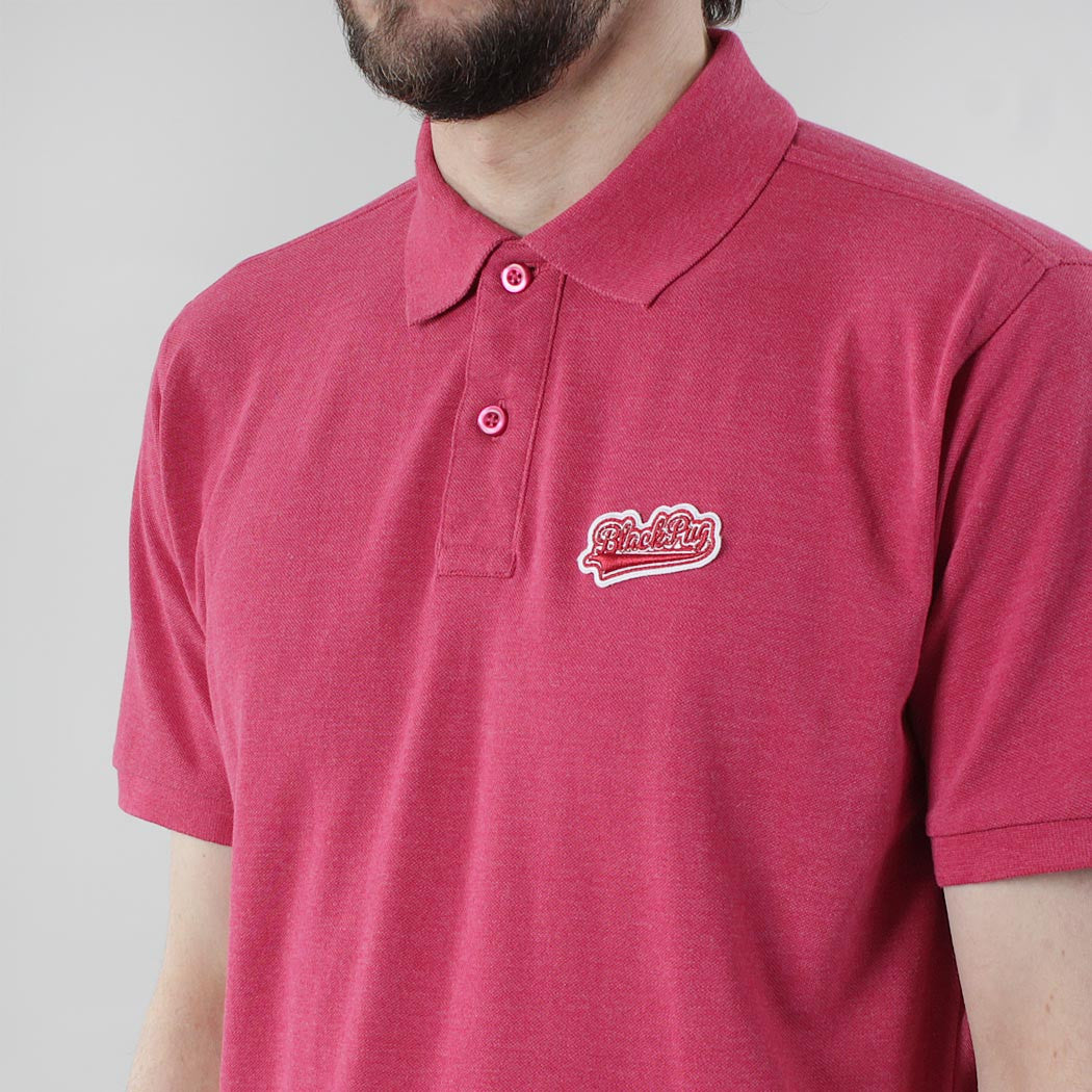 Black Pug Baseball Patch Polo - Heather Red/Red - Born Store