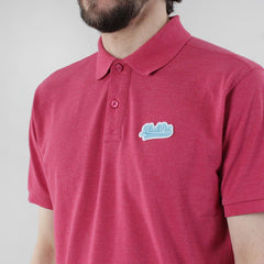 Black Pug Baseball Patch Polo - Heather Red/Blue