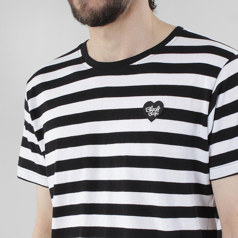 Black Pug Striped Heart Tee - Black/Black - Born Store