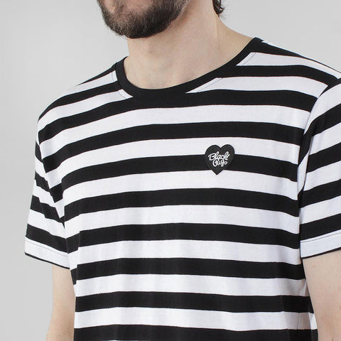 Black Pug Striped Heart Tee - Black/Black