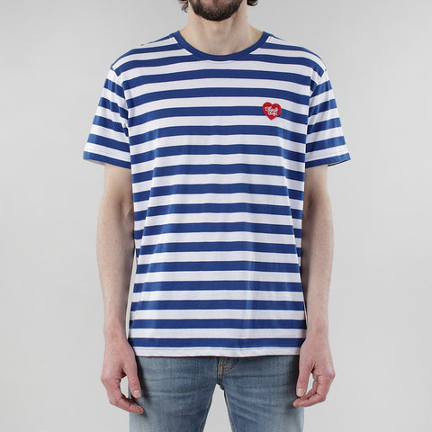 Black Pug Striped Heart Tee - Blue/Red