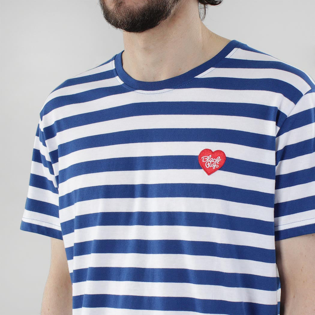 Black Pug Striped Heart Tee - Blue/Red - Born Store