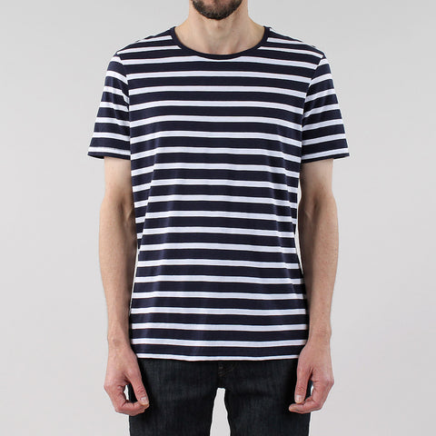 Black Pug Basic Striped Tee - Navy