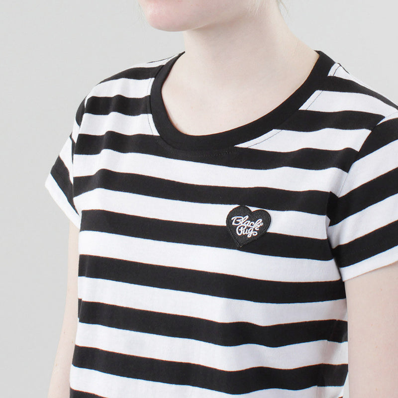 Black Pug Girls Striped Heart Tee - Black/Black - Born Store