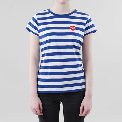 Black Pug Girls Striped Heart Tee - Blue/Red
