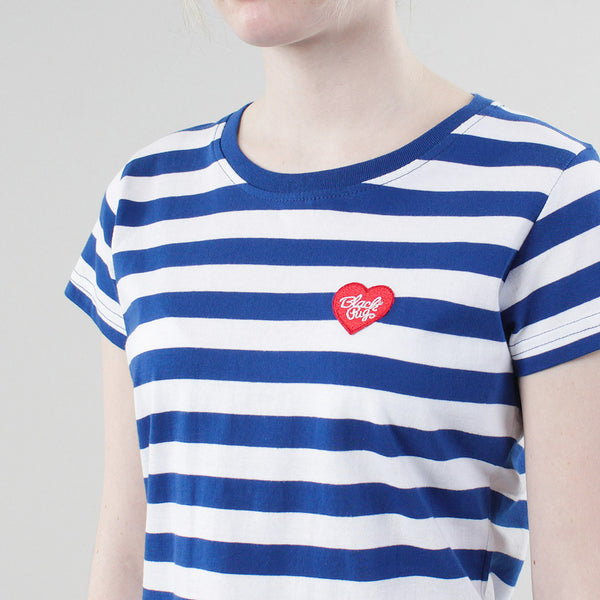 Black Pug Girls Striped Heart Tee - Blue/Red - Born Store