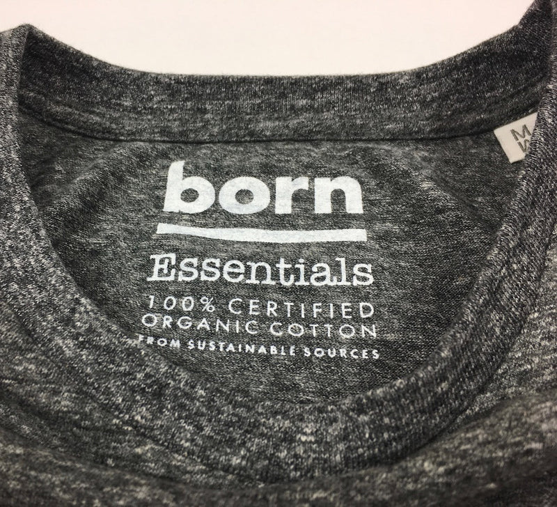Born Essentials Logo Organic Cotton S/S Tee Shirt -  Heather Steel Grey/White - Born Store