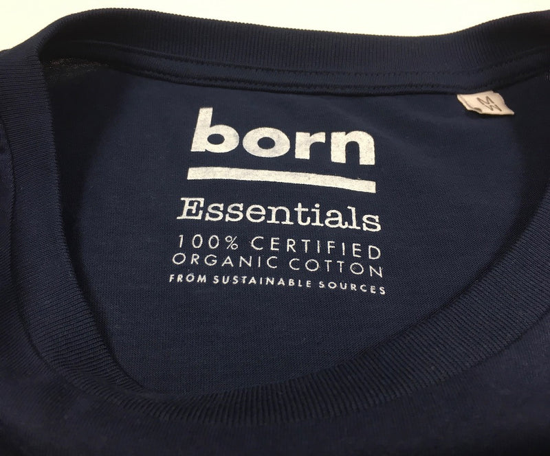 Born Essentials Logo Organic Cotton S/S Tee Shirt -  Navy/White - Born Store