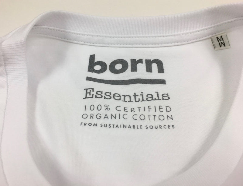 Born Essentials Logo Organic Cotton S/S Tee Shirt -  White/Army Green - Born Store