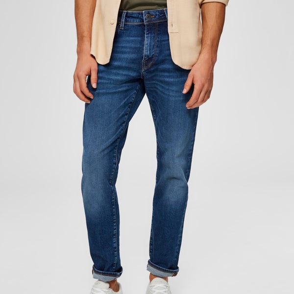 Selected Homme Straight Fit Jeans - Medium Blue - Born Store