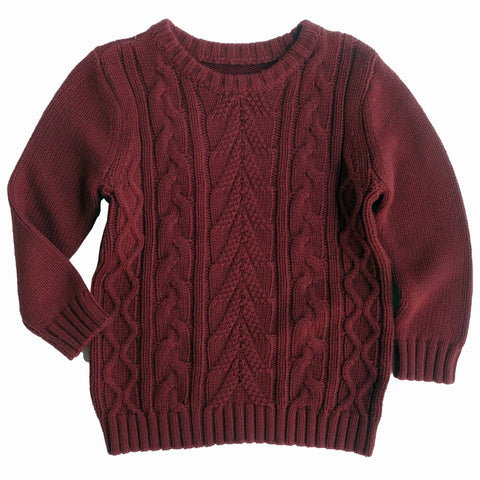 Repose AMS Wine Red Cable Knitted Sweater | POCO KIDS
