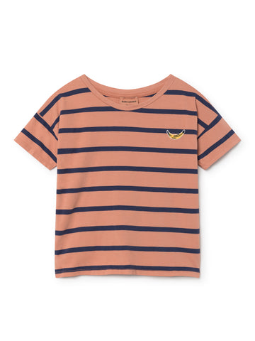 Dark Peach Breton Stripes T-Shirt
