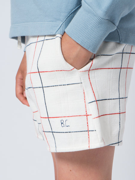 Bobo Choses White Lines Shorts, close up | POCO KIDS
