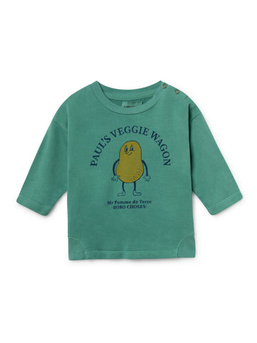 Bobo Choses Green Pomme de Terre Baby Sweatshirt | POCO KIDS