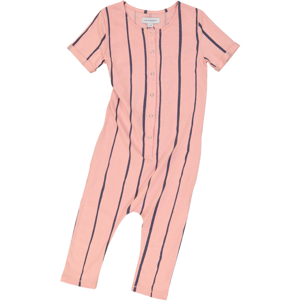 Jax & Hedley Dusky Rose Pink and Nimbus Grey striped short-sleeved Sunset Onesie | POCO KIDS