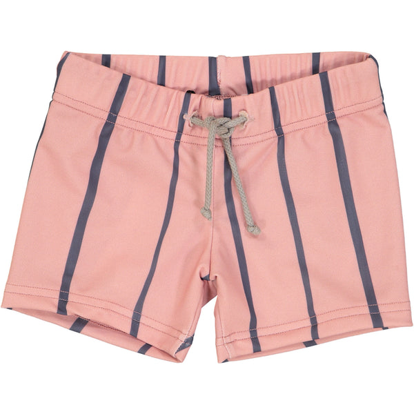 Jax & Hedley Rose Pink and Grey striped Sunset Swimtrunks with tonal drawstring waistband | POCO KIDS