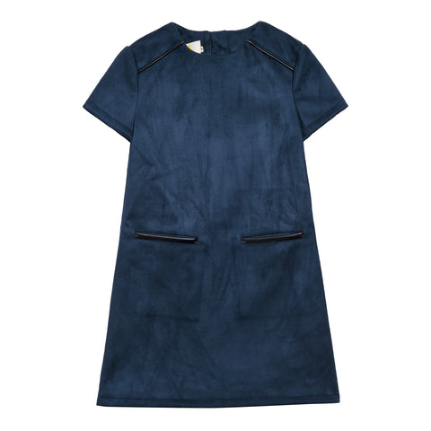 Little Eleven Paris Navy Faux Suede Razor Dress | POCO KIDS