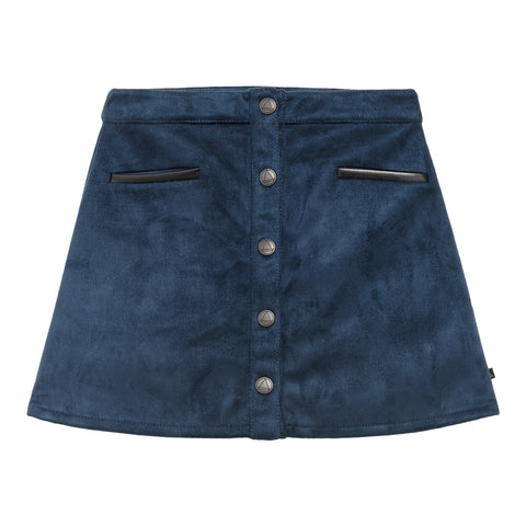 Little Eleven Paris Navy Faux Suede Rainbow Skirt | POCO KIDS