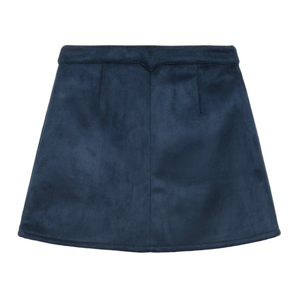 Little Eleven Paris Navy Faux Suede Rainbow Skirt- Back | POCO KIDS