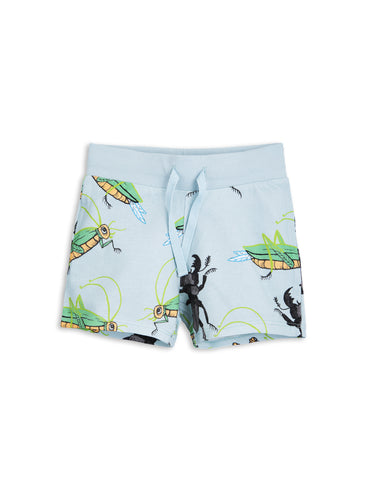 Mini Rodini Light Blue Insects all over print Sweatshorts | POCO KIDS