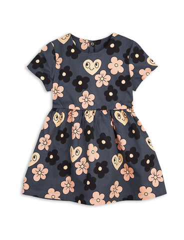 Mini Rodini Grey Flower Dress with printed Flowers and Hearts | POCO KIDS