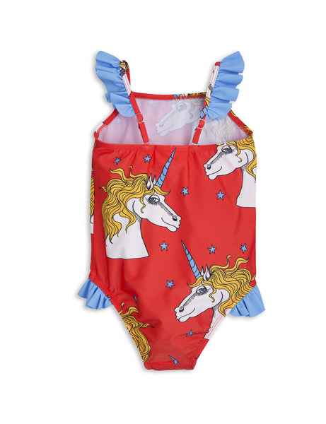 Mini Rodini Red Unicorn Star Wing Swimsuit, back | POCO KIDS