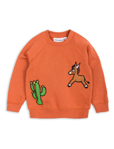 Mini Rodini Orange Donkey Cactus Sweatshirt | POCO KIDS