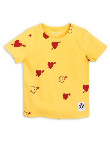 Mini Rodini Yellow Heart  Rib T-shirt | POCO KIDS