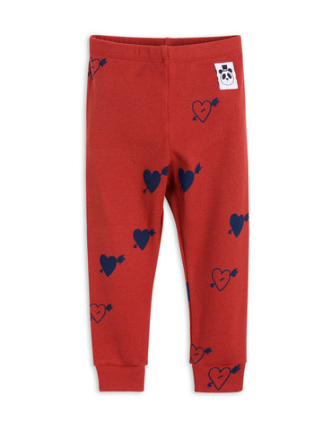 Mini Rodini Red Heart Ribbed Leggings | POCO KIDS