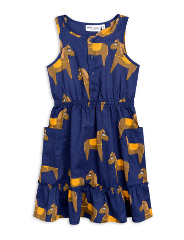 Mini Rodini Navy Horse Woven Flounce Dress | POCO KIDS