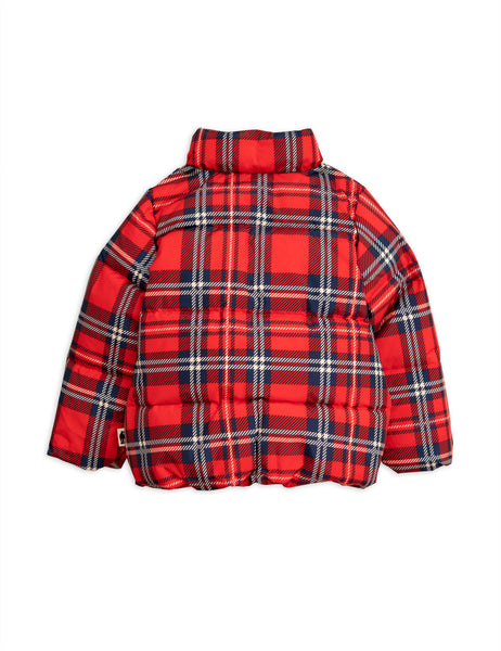 Mini Rodini Red Check Puffer Jacket, back | POCO KIDS