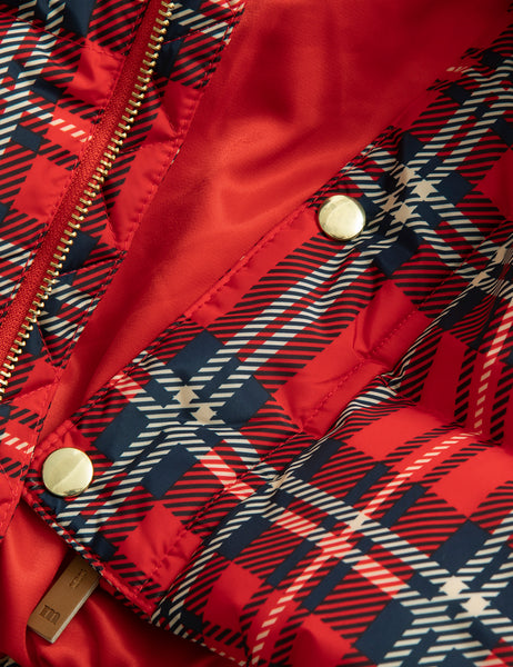 Mini Rodini Red Plaid Puffer Jacket, zip and snap button detail | POCO KIDS