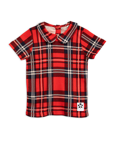 Mini Rodini Red Plaid / Check Collar T-Shirt | POCO KIDS