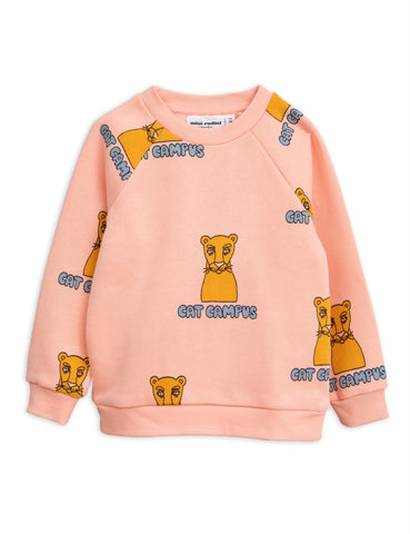 Mini Rodini Pink Cat Campus Sweatshirt | POCO KIDS