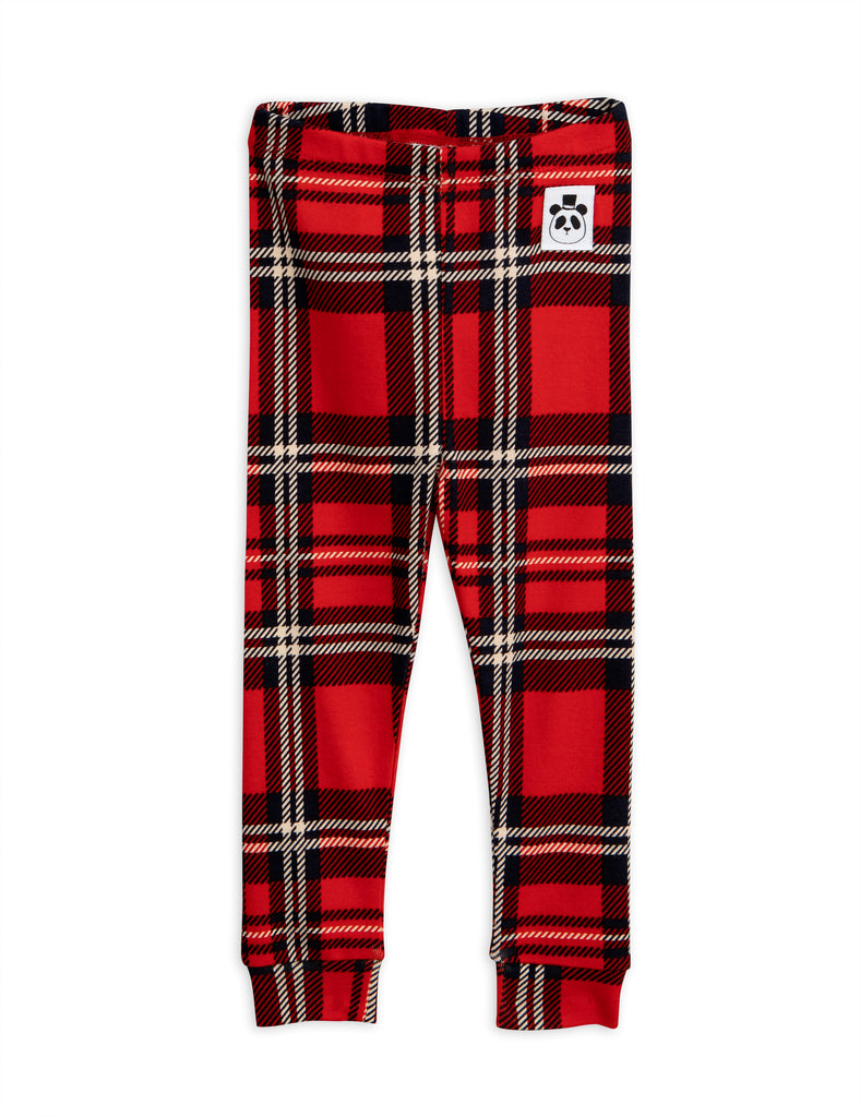 Mini Rodini Red Plaid Cuff Leggings | POCO KIDS
