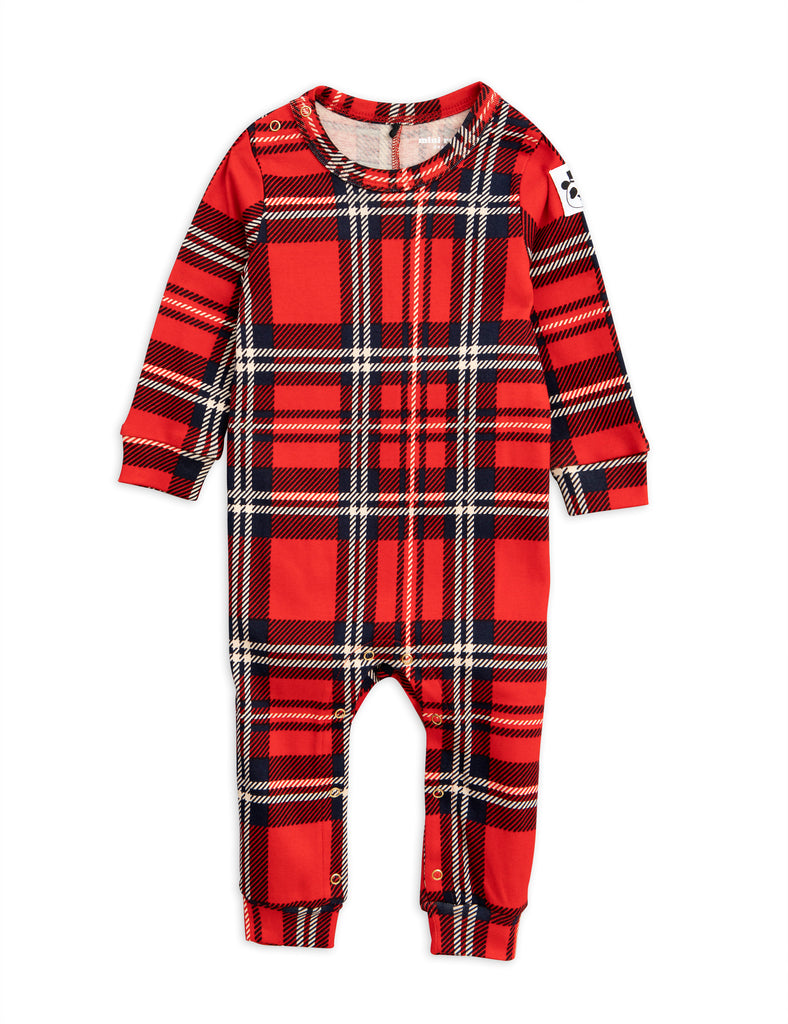 Mini Rodini Red Check Long sleeved Jumpsuit | POCO KIDS