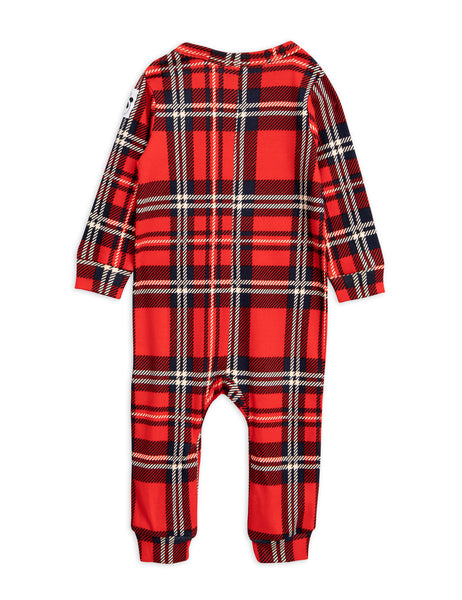 Mini Rodini Red Plaid long sleeved Jumpsuit, back | POCO KIDS