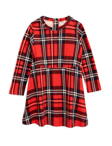 Mini Rodini Red Check Long Sleeved Dress | POCO KIDS
