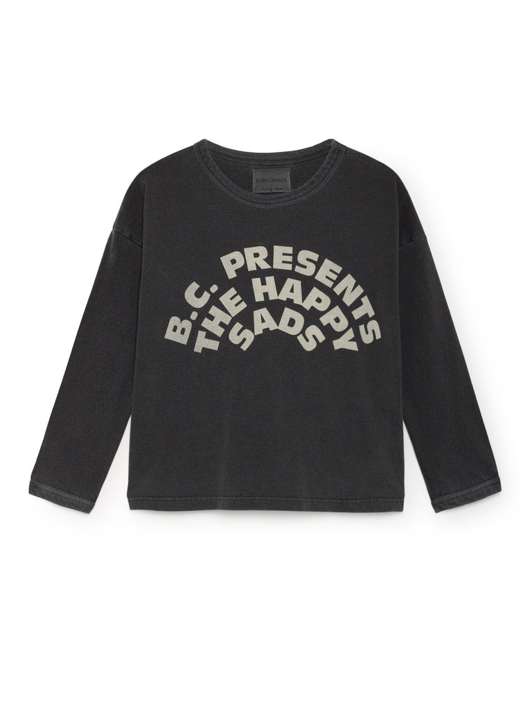 Bobo Choses Washed Black The Happy Sads Round Neck T-Shirt | POCO KIDS